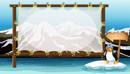 빙산 그림에 펭귄과 프레임 디자인