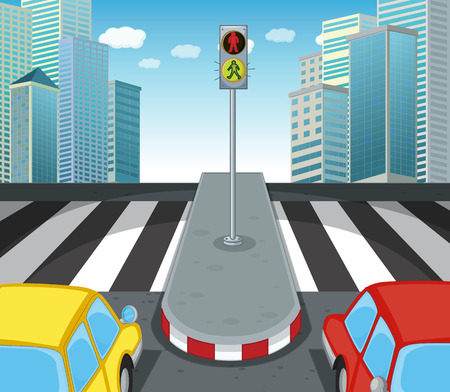 clipart street light: Zebra crossing on the road illustration Illustration