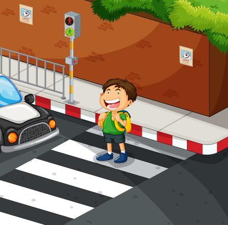 zebra crossing: Boy crossing the road at zebra crossing illustration