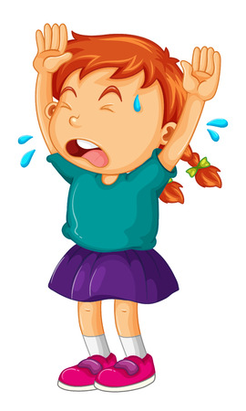 arms up: Little girl crying with her arms up illustration Illustration