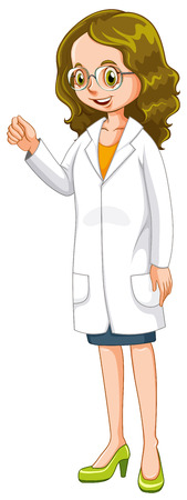 Female doctor in white gown illustration Vector Illustration