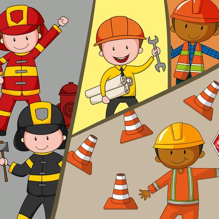 brandweer cartoon: Verschillende soorten beroepen illustratie Stock Illustratie