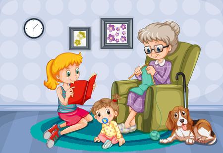 Abuela y niños en la ilustración de la habitación