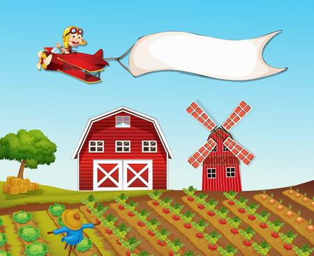 farmyard: Monkey flying plane over farmyard illustration Illustration