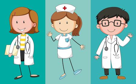 Médicos y enfermeras en la ilustración uniforme
