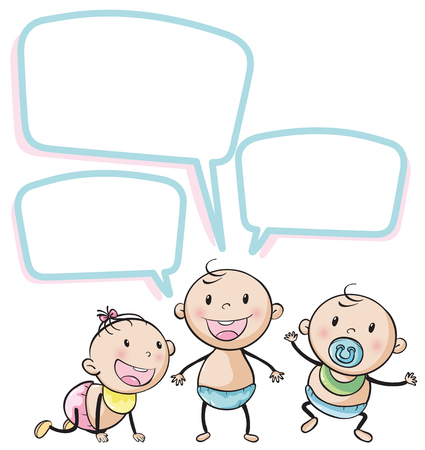 note board: Toddlers with speech bubbles illustration Illustration