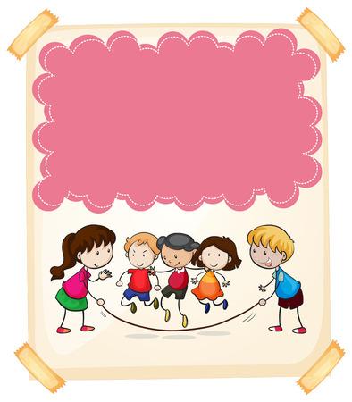 papel de notas: Diseño de papel con los niños, saltar la cuerda ilustración