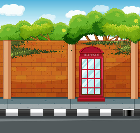 telephone booth: Scene with telephone booth on the sidewalk illustration