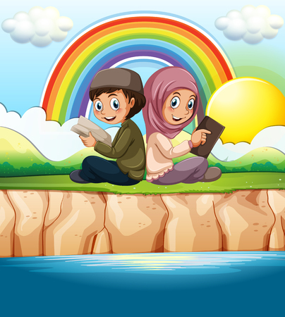 islamic scenery: Muslim boy and girl reading book illustration