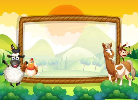 Frame met boerderijdieren illustratie Vector Illustratie