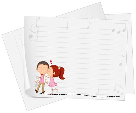 kissing: Paper design with girl kissing boy illustration