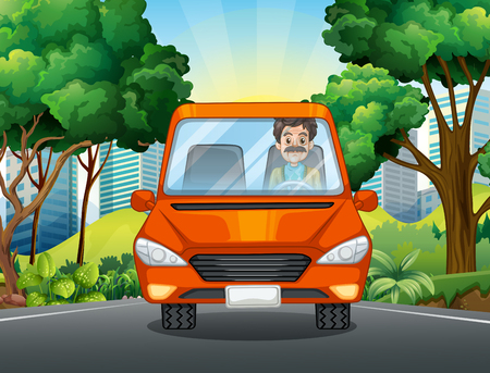 curb: Man driving car on the road illustration Illustration
