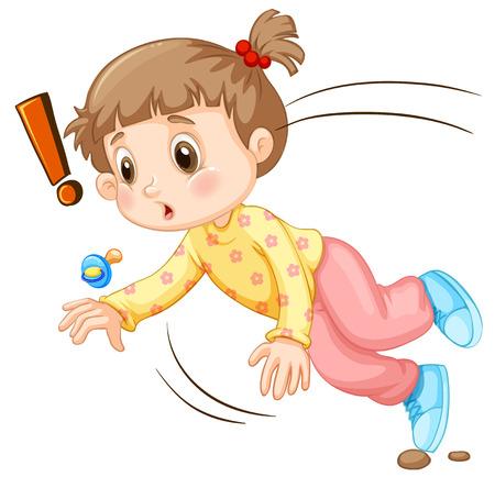 falling down: Little girl falling down illustration Illustration