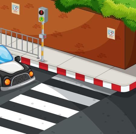 zebra crossing: Scene with zebra crossing illustration Illustration