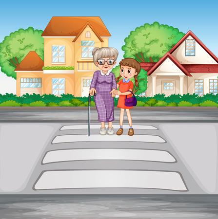 curb: Grandmother and kid crossing the road illustration