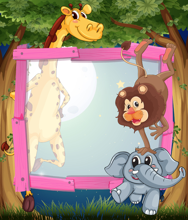 animals frame: Frame design with wild animals at night illustration Illustration