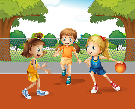 three girls: Three girls playing basketball in the court illustration Illustration