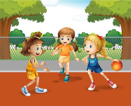 niñas jugando: Tres niñas jugando al baloncesto en la ilustración de tenis