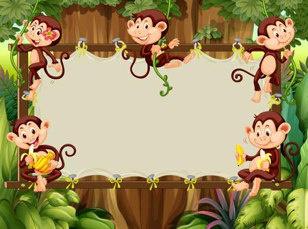 Frame design with monkeys in the woods illustration
