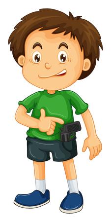 youth crime: Little boy carrying firegun illustration