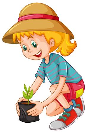 sembrando un arbol: ni�a feliz plantar el �rbol de la ilustraci�n Vectores