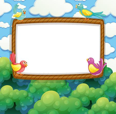 cloud clipart: Border design with birds on the tree illustration Illustration