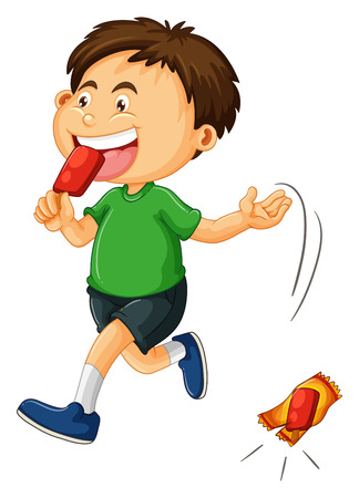 throwing: Little boy throwing icecream bag illustration Illustration