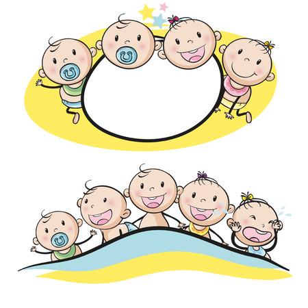 diseño del logotipo con los bebés sonrientes ilustración