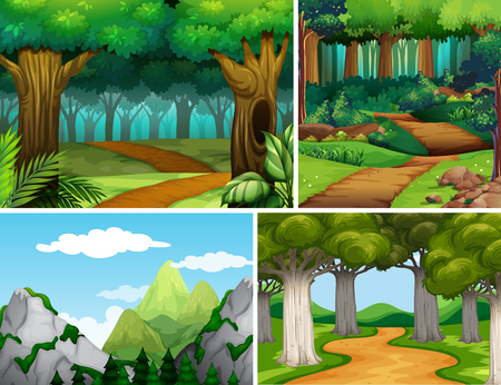 Four nature scenes with forest and mountain illustration