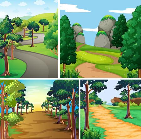 Escena de la naturaleza con las carreteras y la ilustración del bosque