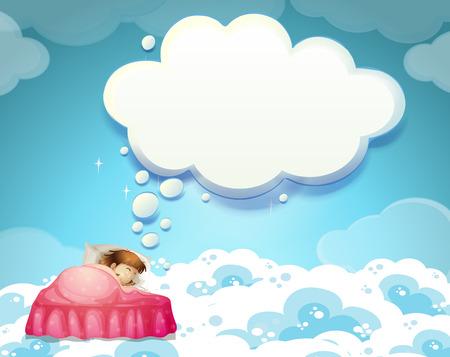 enfant qui dort: Jeune fille endormie dans son lit avec des nuages ??illustration de fond