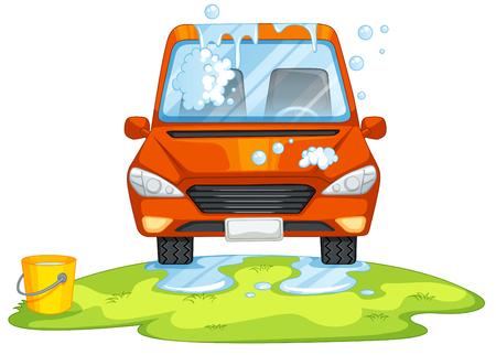 washing: Car washing in the park illustration