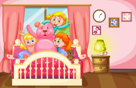 slumber party: Kids and teddy bear in bedroom illustration