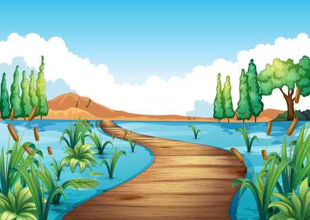 river cartoon: Nature scene with bridge across the river illustration
