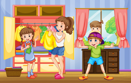 drawing room: People in family doing chores illustration Illustration