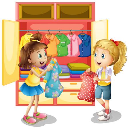Zwei Mädchen Kommissionierung Kleidung aus Schrank Illustration Vektorgrafik
