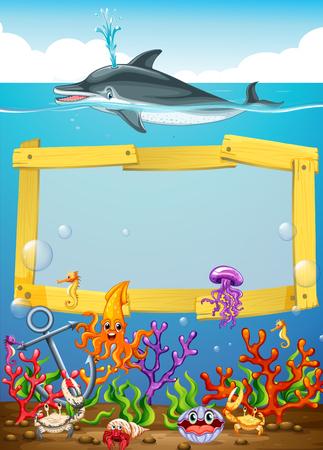 Frame met dolfijn onderwater illustratie