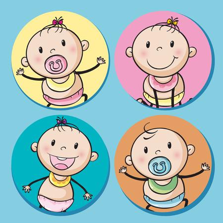 baby boys: Baby boys and girls on round badge illustration