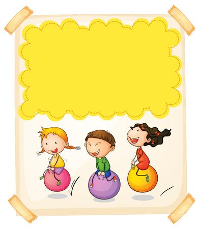 children background: Paper design with three kids on big balls illustration
