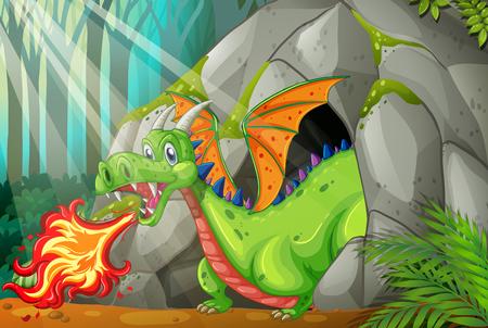 Drago nella grotta illustrazione soffia fuoco