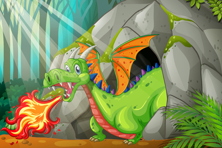 blowing: Dragon in the cave blowing fire illustration