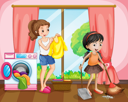 doing chores: Two girls doing chores at home illustration