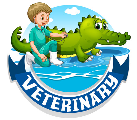 veterinary sign: Veterinary sign with vet and crocodile illustration Illustration