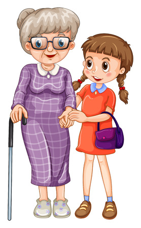 grandaughter: Little girl and grandmother illustration