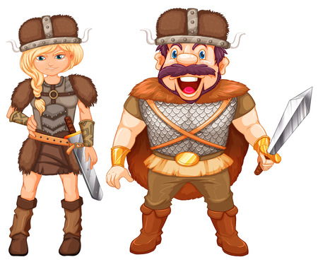 armour: Male and female vikings in armour suit illustration Illustration