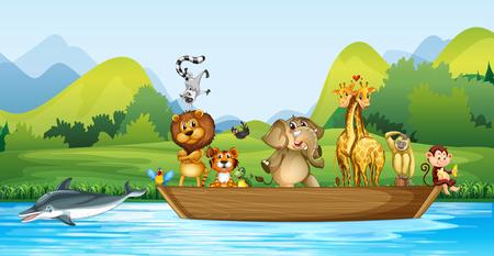 Wilde dieren op de houten boot illustratie