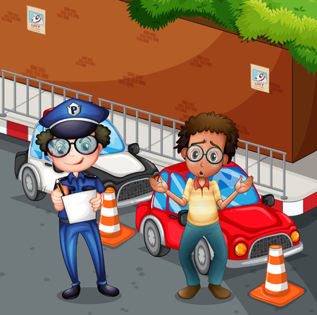 curb: Policeman at the accident scene illustration