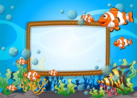 Diseño del marco de la ilustración con peces bajo el agua