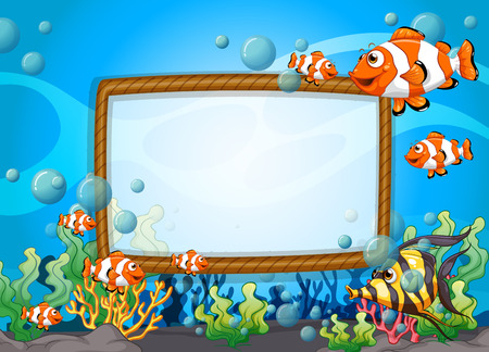Frame design with fish underwater illustration Çizim