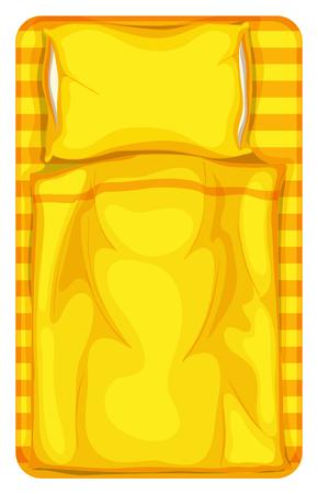 blatt: Bett mit gelben Decke und Kissen Illustration